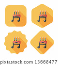 birthday cake flat icon with long shadow,eps10 13668477