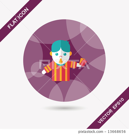 soccer referee flat icon with long shadow,eps10 13668656