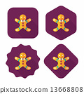 Gingerbread man flat icon with long shadow,eps10 13668808