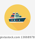 Transportation ferry flat icon with long shadow,eps10 13668978