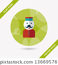 Hotel bellhop flat icon with long shadow,eps10 13669576
