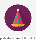 birthday party hat flat icon with long shadow,eps10 13669916
