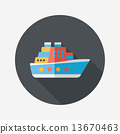 Transportation ferry flat icon with long shadow,eps10 13670463