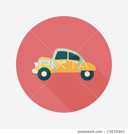 Transportation car flat icon with long shadow,eps10 13670962