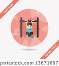 Boy hanging horizontal bar flat icon with long shadow,eps10 13671697