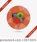 Hair dryer flat icon with long shadow,eps10 13673441