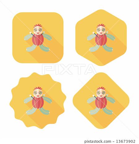 Halloween voodoo doll flat icon with long shadow,eps10 13673902