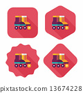 Roller skates flat icon with long shadow 13674228