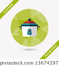 kitchenware rice cooker flat icon with long shadow,eps10 13674297