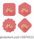 Kids Tricycle flat icon with long shadow,eps10 13674523