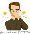 Man Blowing Nose With Tissue 13675760