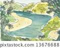 수채화 물감, 수채화, 풍경화 13676688