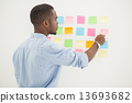 concentrating, sticky, notes 13693682