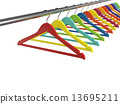 Colorful clothes hangers isolated on white background 13695211