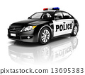 Side View Studio Shot Of Black Sedan Police Car 13695383
