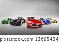 Multi Colored Three Dimensional Modern Cars 13695434