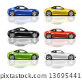 Collection of Multicolored 3D Modern Cars 13695441