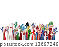 Group of Diverse Flag Painted Hands Raised 13697249