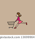 Woman market cart 13699964