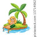 mermaid island illustration 13714062