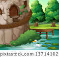 A beautiful scenery with a duck 13714102