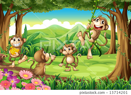 Stock Illustration: Monkeys playing