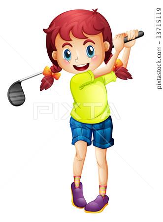 A cute little girl playing golf 13715119