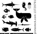Set of geometrically stylized sea animal icons 13720791