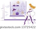 櫥窗展示 成熟的女人 一個年輕成年女性 13725422
