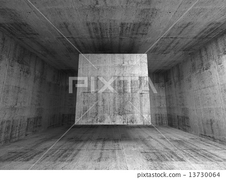 Abstract gray room interior. 3d background with flying cube 13730064