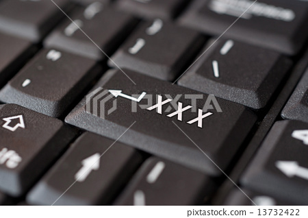 XXX message on enter key, for pornography websites concepts. 13732422