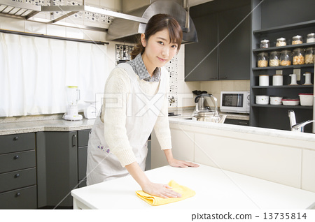 Stock Photo: female, clean up, cleaning up