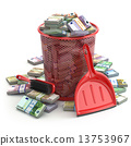 Packs of euro in the garbage can. Waste of money or currency col 13753967