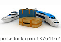 Suitcases with yacht and train. Conception of journey on a railway and sea 13764162