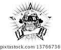 skull in sunglasses playing cards dice chips 13766736