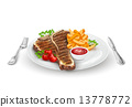 Grilled Steak On Plate 13778772
