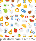 Food icons seamless background. Flat design elements 13782757