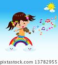 playing, rainbow, violin 13782955