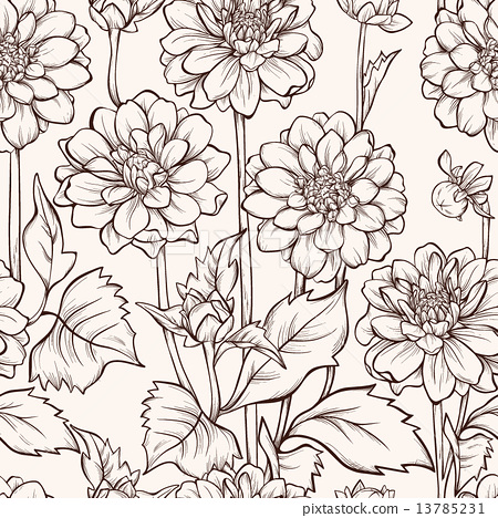 Vintage floral seamless pattern with hand drawn dahlia flowers. 13785231