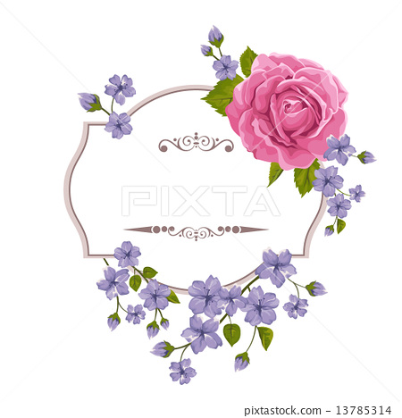Floral greeting card with roses. Background for wedding, birthday, Valentine's Day, Mother's Day. 13785314