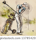 Golfer - Hand drawn illustration converted into vector 13785420