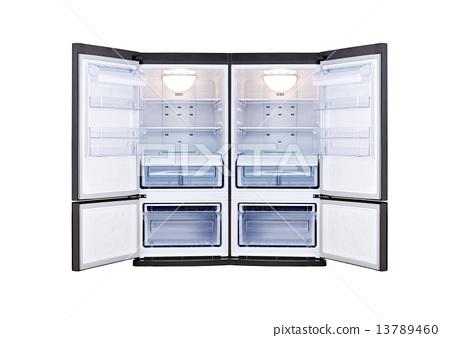 modern refrigerator with open doors 13789460