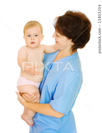 Doctor and small smiling baby isolated 13803204