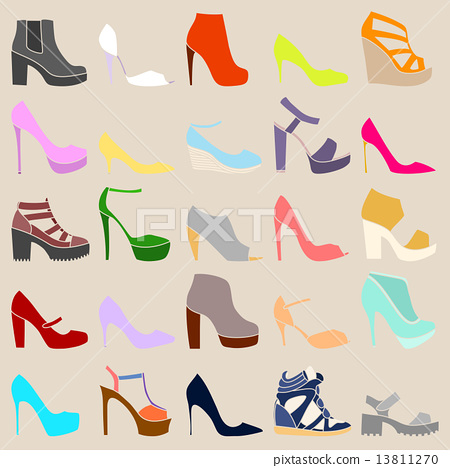 Set of different stylish shoes on beige background 13811270