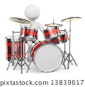 3D white people. Musician playing drums 13839617