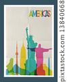 Travel Americas landmarks skyline vintage poster 13840668