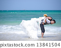 just married young couple celebrating and have fun at beautiful 13841504