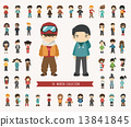 Set of winter collection character 13841845