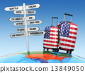 Travel concept. Suitcases and signpost what to visit in USA 13849050