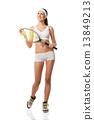 Adult woman holding a tennis racquet. . 13849213